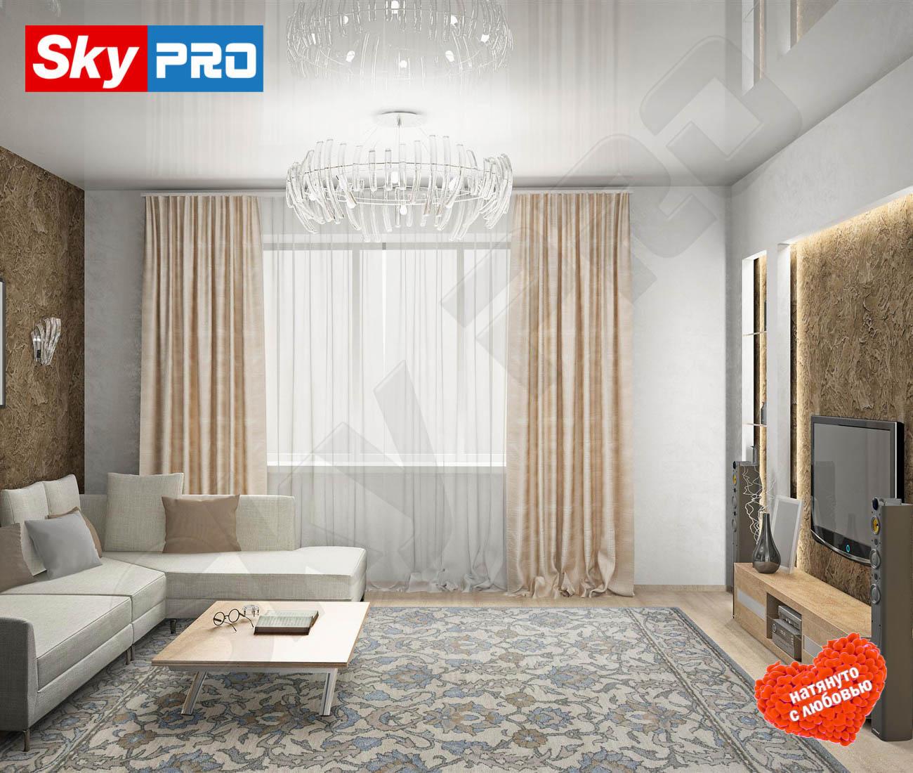 Белый глянцевый натяжной потолок Классик цена за метр