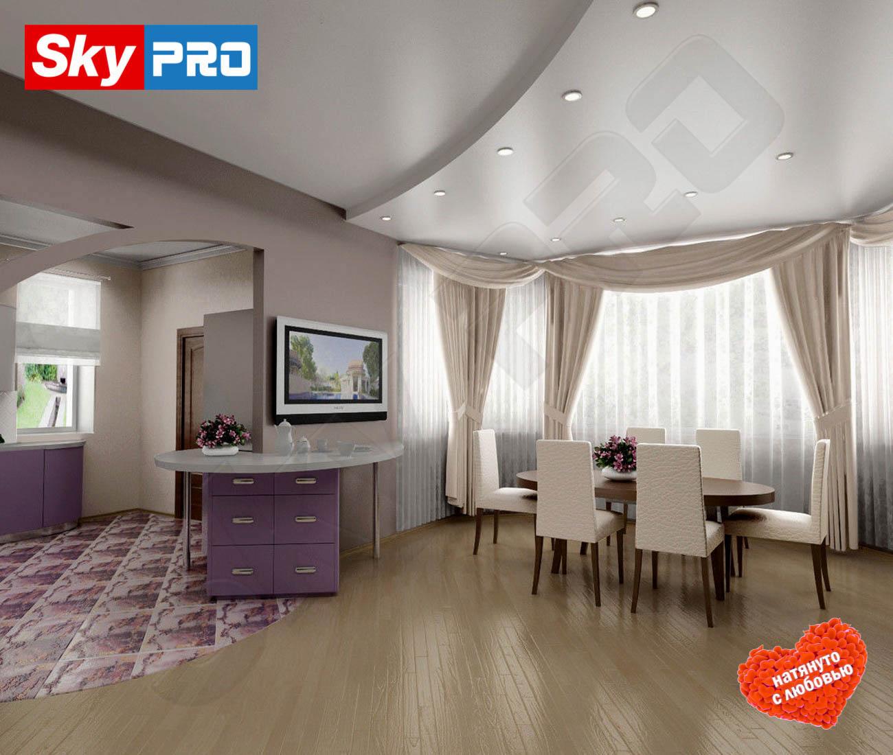 Белый сатиновый натяжной потолок Премиум цена за метр