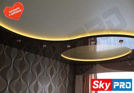 Подсветка двухуровневого потолка